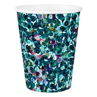 Beachy水の青く模造のなスパンコール 紙コップ