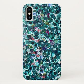 Beachy水の青く模造のなスパンコール iPhone X ケース