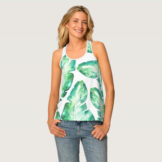 Beachy白い及び緑の熱帯シュロの葉パターン タンクトップ