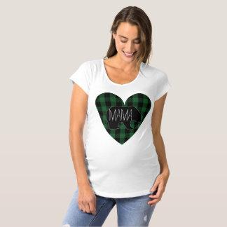 Bear Rustic Green Plaidママのハート マタニティTシャツ