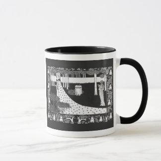 Beardsleyアールヌーボーの白黒女性 マグカップ