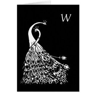 Beardsley Peacocks Art Nouveau Monogram Note Card カード