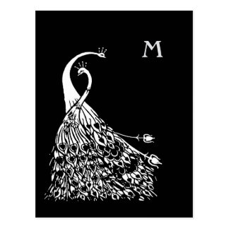 Beardsley Peacocks Pair Monogram Post Card ポストカード