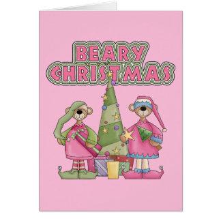 Bearyのピンクのクリスマス カード
