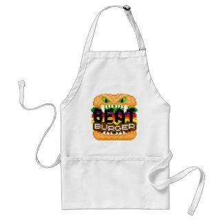 Beatburgerは背部ピクセル芸術モンスターのロゴのエプロンをかみます スタンダードエプロン