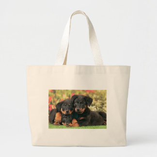 Beauceronの子犬のベストの芽 ラージトートバッグ