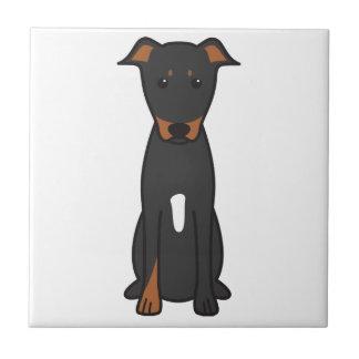 Beauceron犬の漫画 正方形タイル小