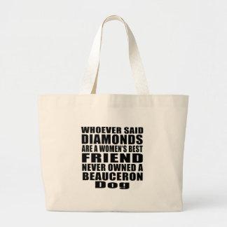 BEAUCERON犬の親友のデザイン ラージトートバッグ