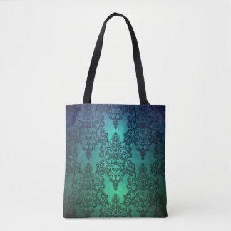 Beaufitulの深いティール(緑がかった色)の青緑の複雑なダマスク織 トートバッグ