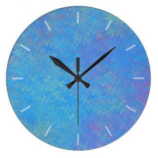 Beautiful Blue Marbled Paper Design ラージ壁時計