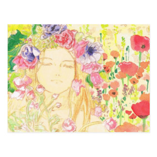 beautiful girl in the flower ポストカード