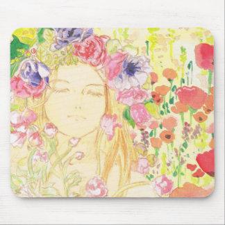 beautiful girl in the flower マウスパッド