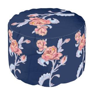 Beautiful roses, Sturdy Spun Polyester Round Pouf プーフ