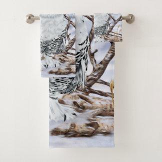 Beautiful Snowy Owl in Snow Print バスタオルセット