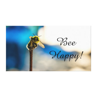 "Bee Happy Bumble Bee Canvas Print 14"" x 11"", 1.5"" キャンバスプリント"
