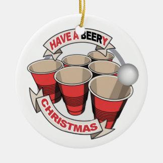 BeeryクリスマスビールPongを持って下さい セラミックオーナメント