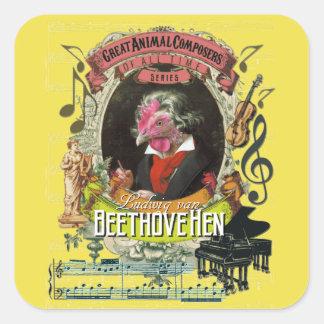 Beethovehenの雌鶏動物作曲家のベートーベン スクエアシール