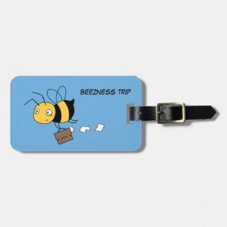 Beeznessの蜂、ブリーフケースを握っている疲れた重点を置かれた蜂 ラゲッジタグ