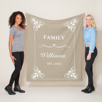 Beige & White Decorative Frame Custom Family Name フリースブランケット