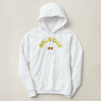 Belgiqueのプルオーバーのフード付きスウェットシャツ-フランスののベルギー 刺繍入りパーカ