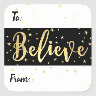 Believe Gold Stars Christmas Custom Gift Tag Label スクエアシール