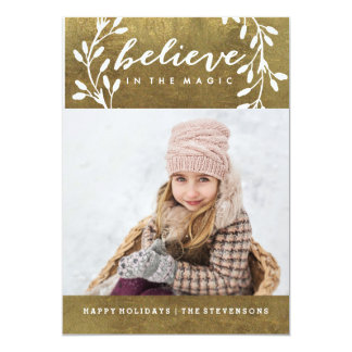 Believe in the Magic   Gold Holiday Card カード