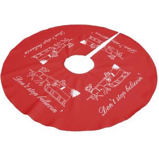 believinのサンタの赤いクリスマスツリーのスカートをストップ ブラッシュドポリエステルツリースカート