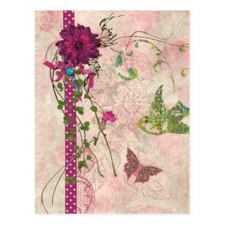 Bellaのピンクおよび緑の花のデザイン ポストカード