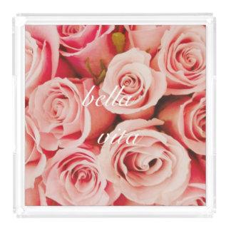 Bella Vitaのばら色の花束の皿 アクリルトレー