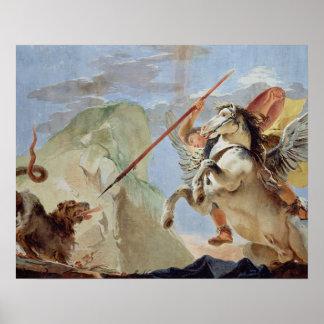 Bellerophon、Chimaeraを殺害している乗車のペガソス ポスター