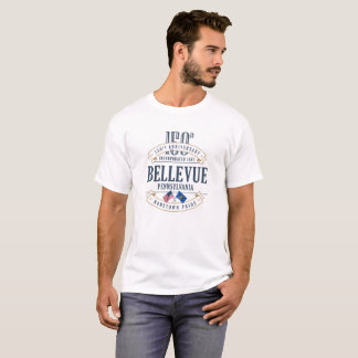 Bellevue、ペンシルバニア150th Anniv。 白いTシャツ Tシャツ