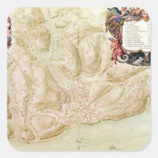 Bellisleの町そして砦の地図 スクエアシール