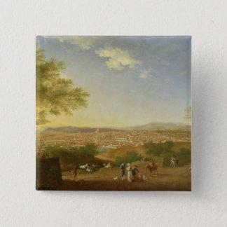 Bellosguardo、17からのフィレンツェの全景 5.1cm 正方形バッジ