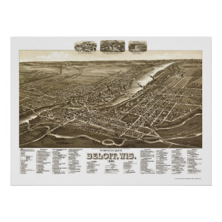 BeloitのWIのパノラマ式の地図- 1890年 ポスター