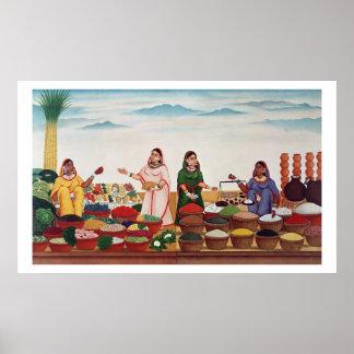 Benares、c.1840 (gouの野菜およびスパイスの市場 ポスター