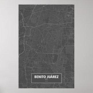 Benito Juárez、メキシコ(黒で白い) ポスター