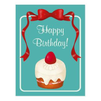 Beribbonedいちごのケーキの郵便はがき ポストカード