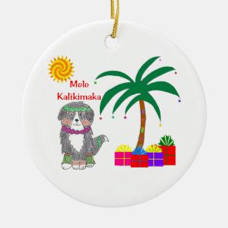 Bernese Mtn犬のハワイアンのクリスマス セラミックオーナメント