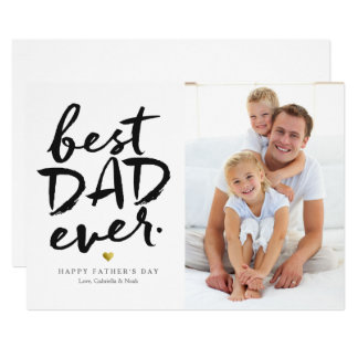 Best Dad Ever | Black On White カード