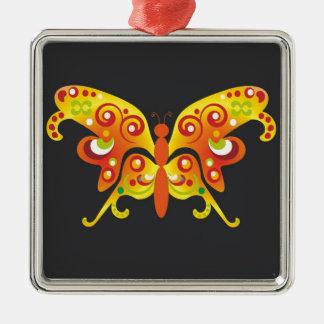 BestPeople著ファンタジーのオレンジ蝶 シルバーカラー正方形オーナメント