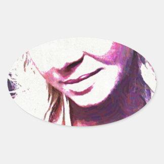 Bethは油絵を巻き上げます 楕円形シール