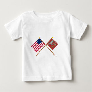 Betsy Rossおよびベドフォードの交差させた旗 ベビーTシャツ