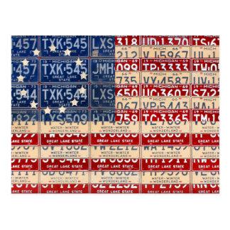 Betsy Rossのアメリカのヴィンテージの旗のナンバープレートの芸術 ポストカード