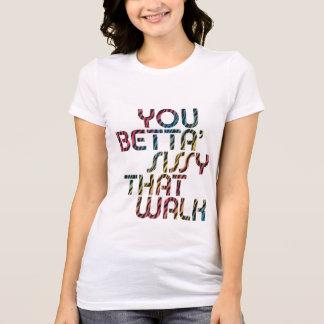 Bettaのいくじなしティー女性の歩かせる Tシャツ