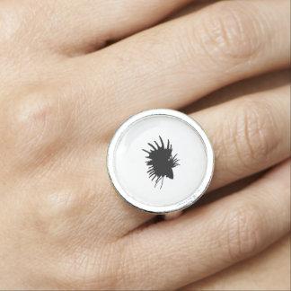 Bettaのシルエット愛シャムの戦いの魚 指輪