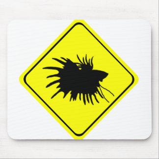 Bettaの警告標識愛シャムの戦いの魚 マウスパッド