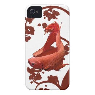 Bettaの赤いシャムの戦いの魚 Case-Mate iPhone 4 ケース
