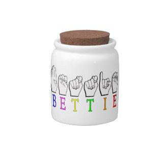 BETTIE ASL FINGERSPELLEDの一流の印 キャンディージャー