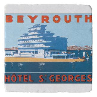 Beyrouth St.ゲオルゲスのヴィンテージ旅行ポスター トリベット