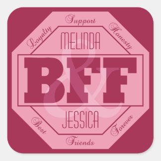 BFFの友情-名前をカスタムする-ステッカー スクエアシール